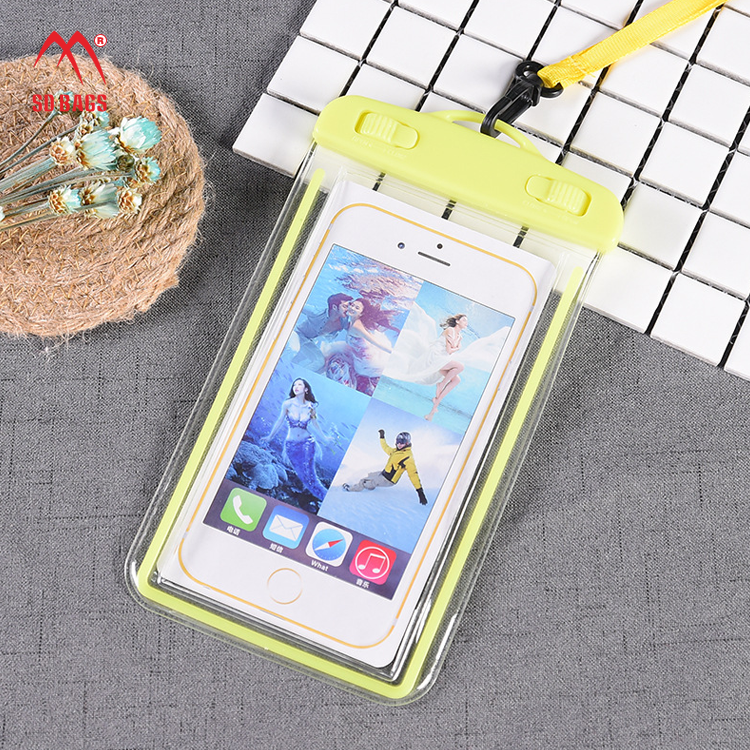 Wholesale multi color pvc waterproof phone case with lanyard and armband floating swimming