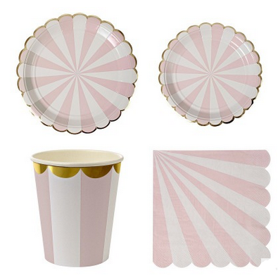 party wedding Dusty Pink Striped Plate cups napkins Hot Pink Striped paper plates and cups