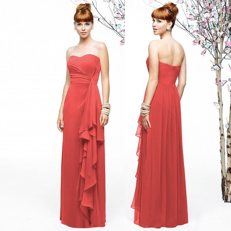 2015 Coral Bridesmaid Dresses For Party Over A Line Chiffon Ruffle Pleats Band Prom Gown Vestidos De Novia