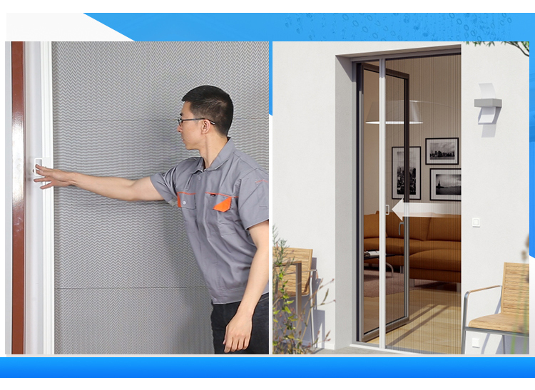 Sliding Pleated Insect Screen Door, Easy Installation Folding Door With Mosquito Nets