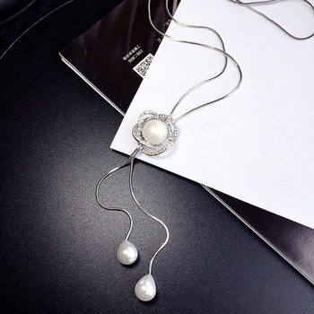 Fashion Charm Silver Plated Pearl Lotus Flower Round Circle Necklace Long Style Double Pearl Sweater Necklace