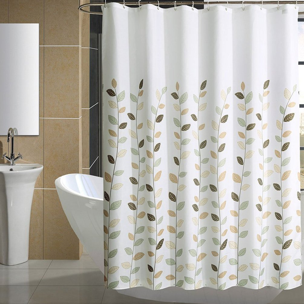 Get Quotations Selaurel Shower Curtain Leaves Print Waterproof Fabric CurtainBath Tub CurtainFlower
