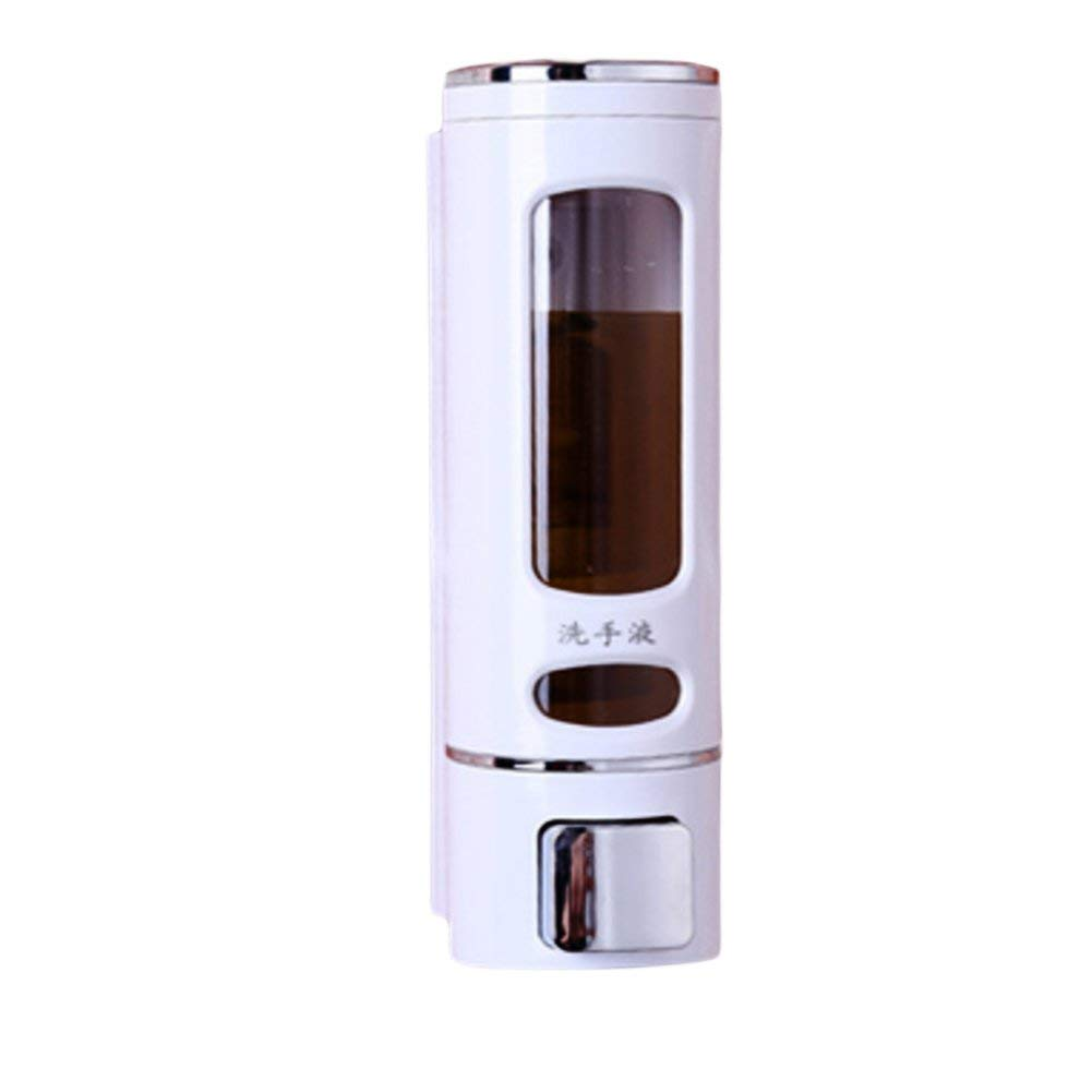 DULPLAY Soap Dispenser,Wall-mounted,Abs plastic,Chrome,Free glue Sticky Kitchen Soap box Bathroom Manual double head Hotel Shampoo box -D(400ML) 20x9x6.8cm(8x4x3inch)