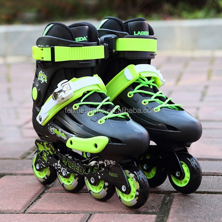 Commercio all'ingrosso nero verde bianco lace-up scarpe patins roller blade pattini