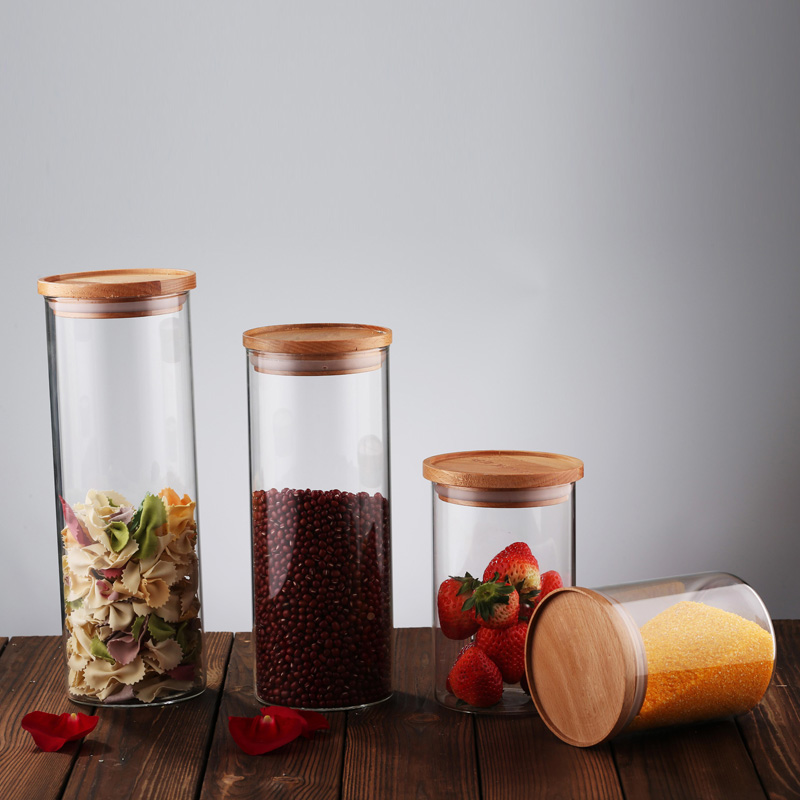 cd9212d3e20e Clear Borosilicate Glass Airtight Canister With Bamboo Lid And Silicone  Sealing Ring Storage Jar For Candy Tea Cookie Nuts Cerea - Buy Storage ...