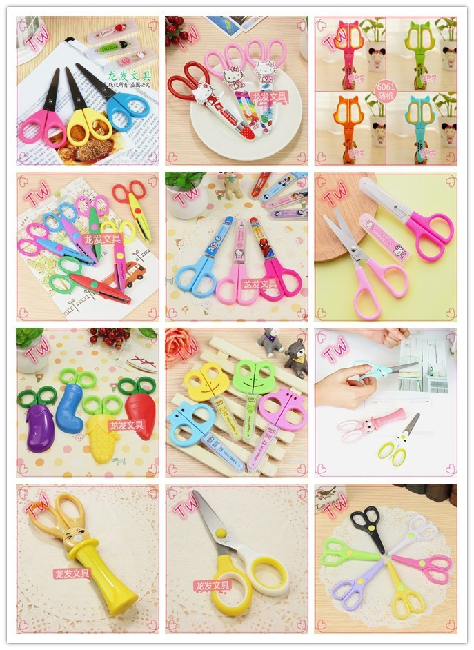 Cheap Household Hand Tools wholesale different kinds of children eco-friendly colorful paper scissors with with Plastic Handle