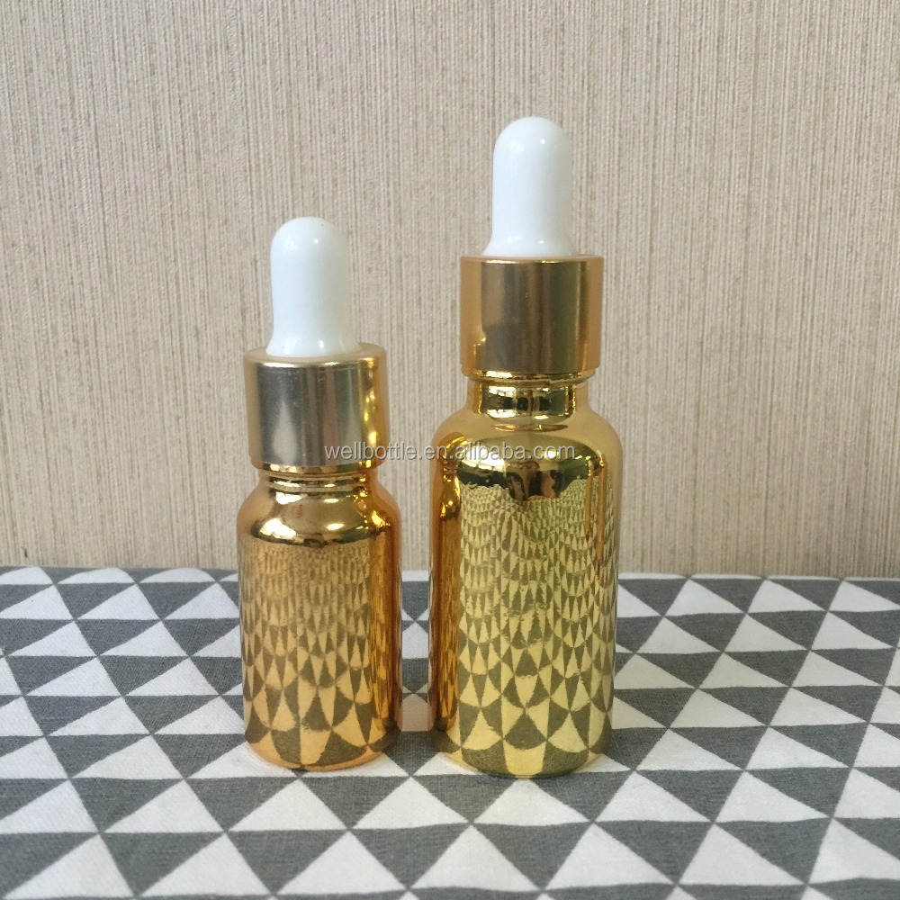 electroplating metallic gold glass dropper bottle GR-921R