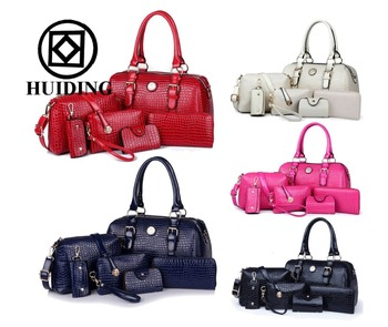6 In 1 Set Bags Handbags Woman Designer Handbag Crocodile Oem Pu Leather