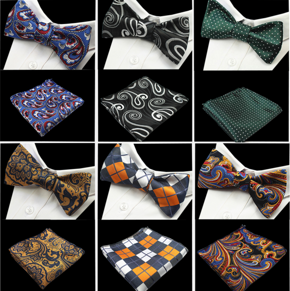 Polyester Jacquard Woven Men Self Bow Tie Pocket Square Floral Paisley Striped Bowtie Handkerchief Set