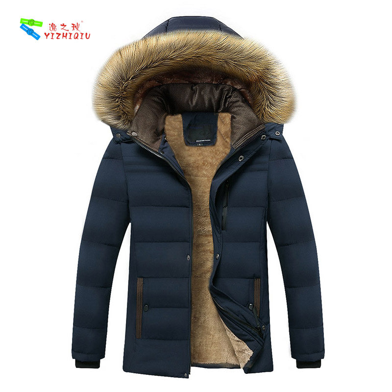 YIZHIQIU Classic Winter Fur Medium Long Length Men Coat