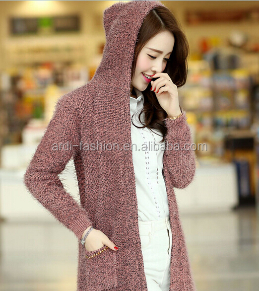 2015 Fancy Mohair Hand Knitted Girls Ladies Long Sleeve Hooded ...