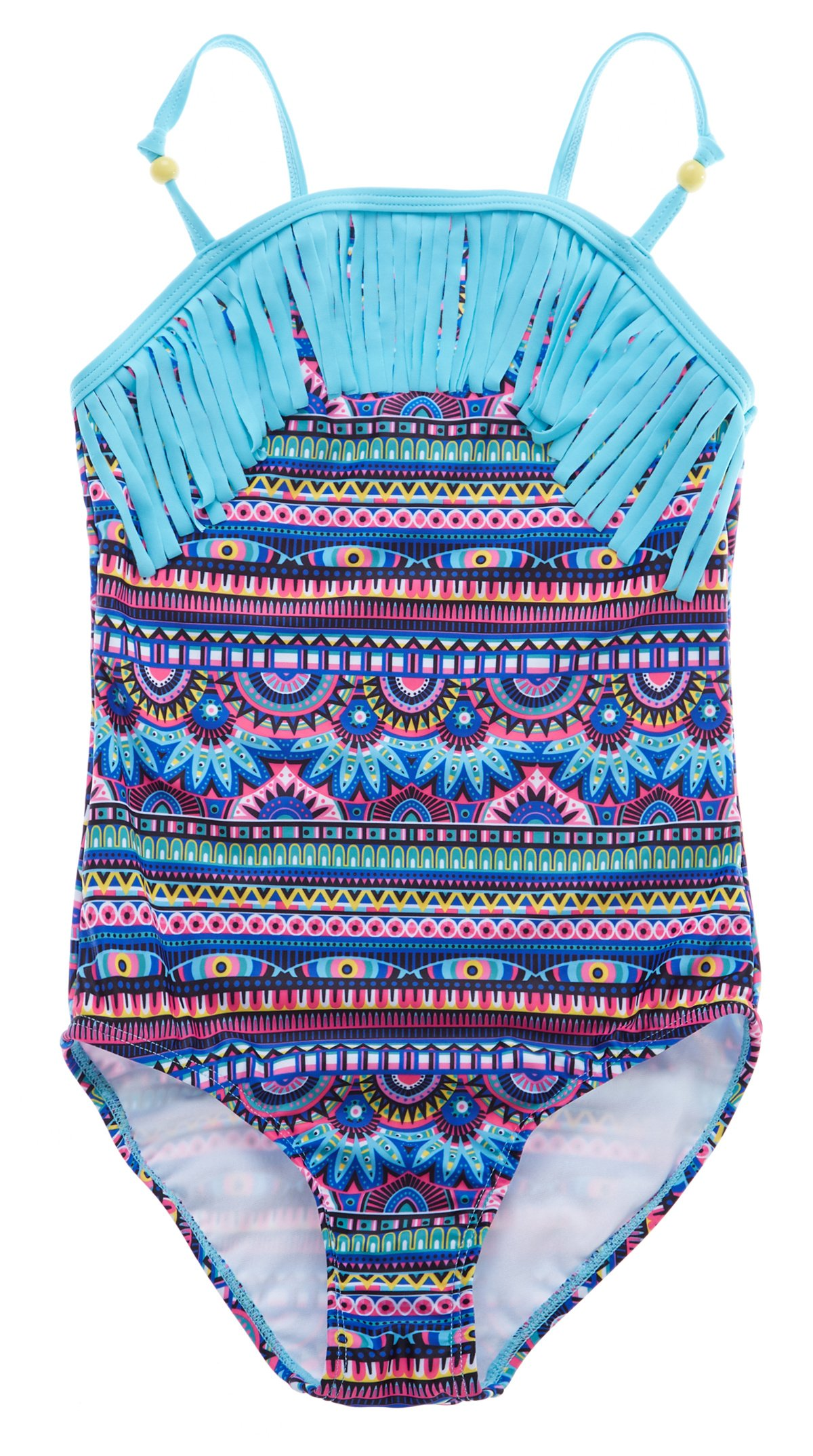 a62cdd2f2a Get Quotations · ATTRACO Little Big Girls Fringe Hollow-Out Rainbow Wave Stripe  One Piece Swimsuit
