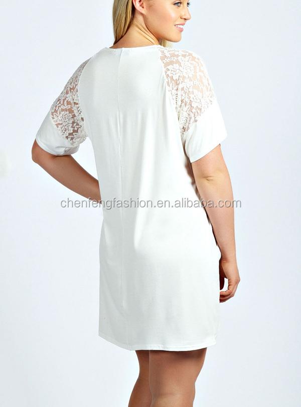 Chefon Sheer Lace Detail Short Sleeve Plus Size White T Shirt Dress