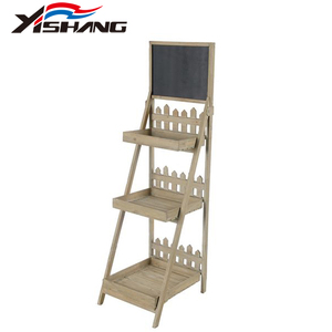 3 Tiers Wooden Stand Display Shelf With Blackboard
