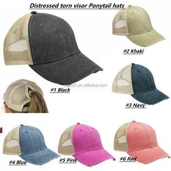 Mesh Trucker Ponytail Distressed Hat - Buy Distressed Hat 033f9f78754