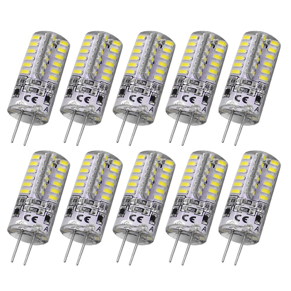 Rayhoo 10pcs G4 Base 48 LED Light Lamp 3 Watt DC 12V White Bulb Undimmable Equivalent to 20W T3 Halogen Track Bulb Replacement 360° Beam Angle(Only DC 12V)