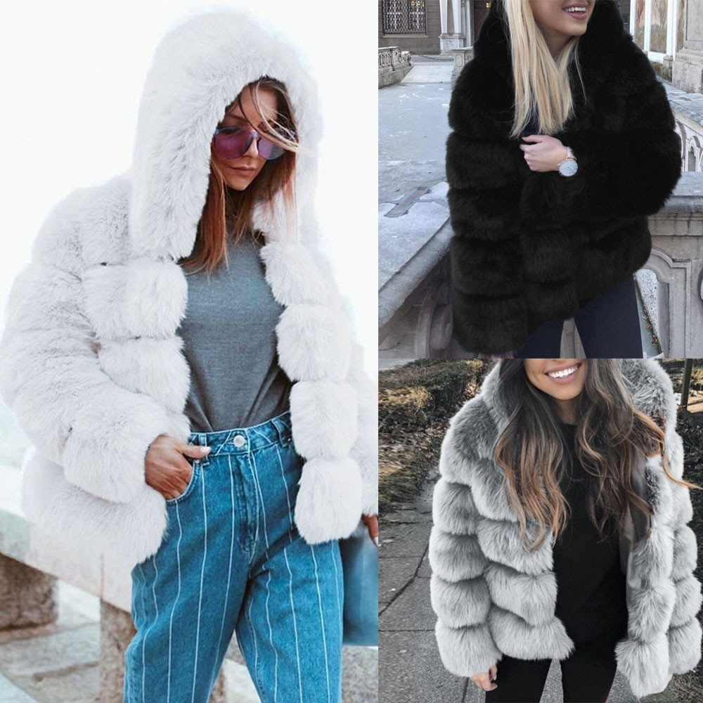 1c5e92279 Women Faux Mink Winter Hooded New Faux Fur Jacket Warm Thick Outerwear  Jacket Please note that slight color difference should be acceptable due to  the light ...