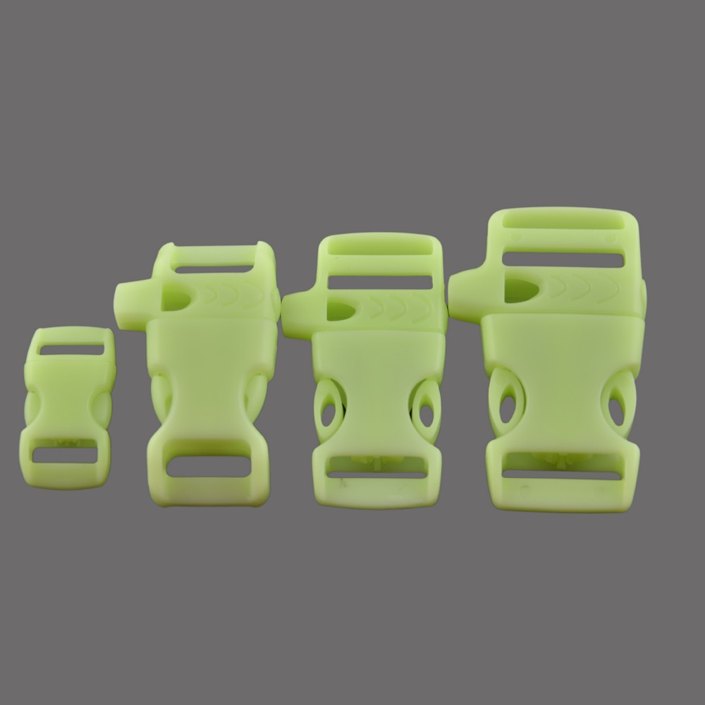 "Glow in dark plastic Whistle paracord buckle with selection of 3/4"",5/8"",1/2"",3/8"" for backpack bracelet"