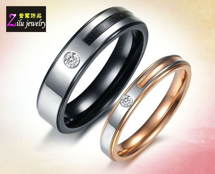 Stainless Steel wedding couple rings/womens cz rings jewelry in stainless steel (CR8983)