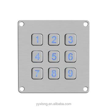 Metal El Membrane Switch 3x4 Keys Numeric Backlight Metal Keypad - Buy 3x4  Keys Numeric Backlight Metal Keypad,El Membrane Switch,Best Affordable