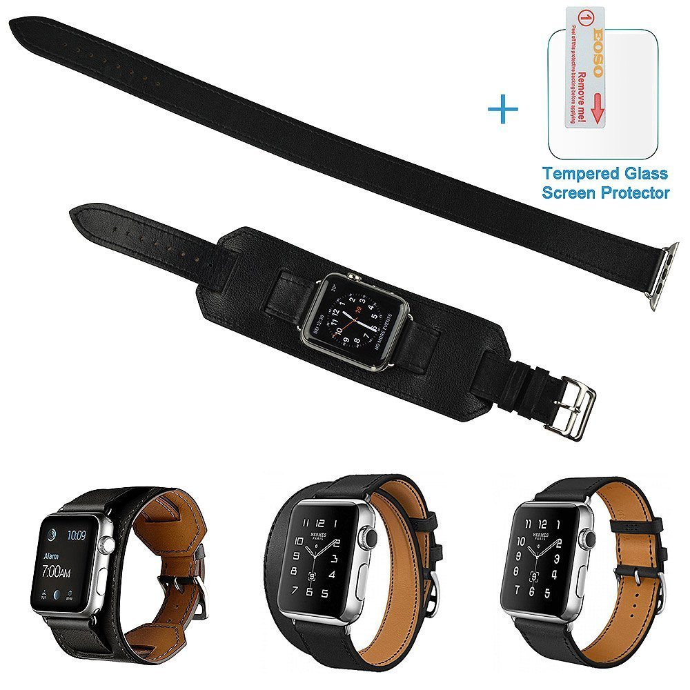 3 in 1 Apple Watch Leather Cuff Band,Eoso [Bracelet/Single/Double] Leather Loop Band for Apple Watch,Sport,Edition Models(Band Cuff Black,42mm)
