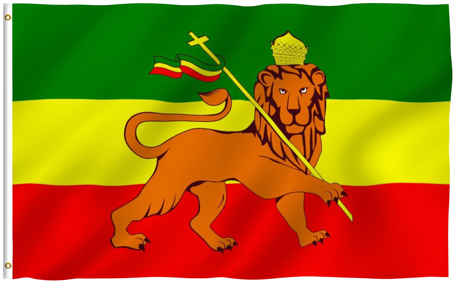 ANLEY [Fly Breeze] 3x5 Foot Ethiopia Flag with Lion - Vivid Color and UV Fade Resistant - Canvas Header and Double Stitched - Ethiopian Lion of Judah Flags Polyester with Brass Grommets