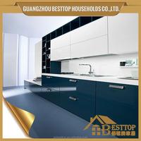 design ideas beautiful blue & white combinated kitchen cabinets