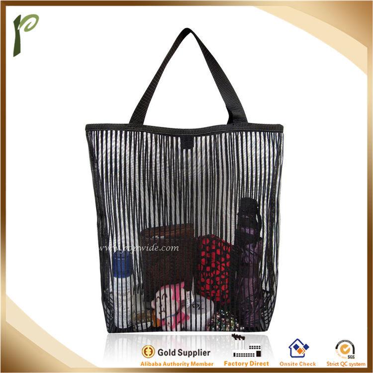 Popwide Large Mesh Transparent Beach Bag plastic tote bag with zipper add74c27b311