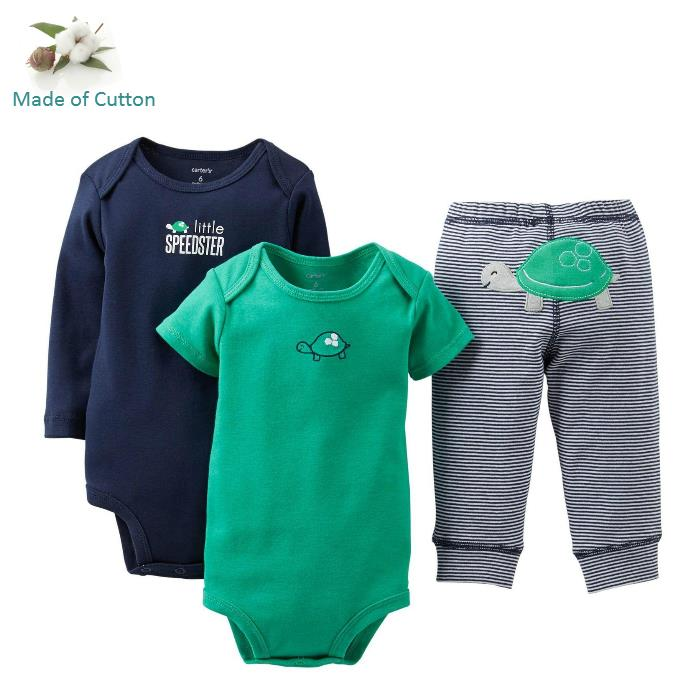 3pc/set Original Carters Set Baby Boy Clothing Set Boy Long Sleeve Baby Clothing Autumn Winter 2015 Brand Baby Girl Clothes