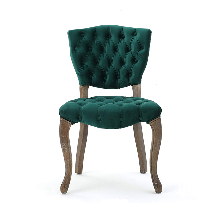 Banquet French Furniture Velvet Fabric Oak Green Dining Room Wood Low Back Wingback Chair