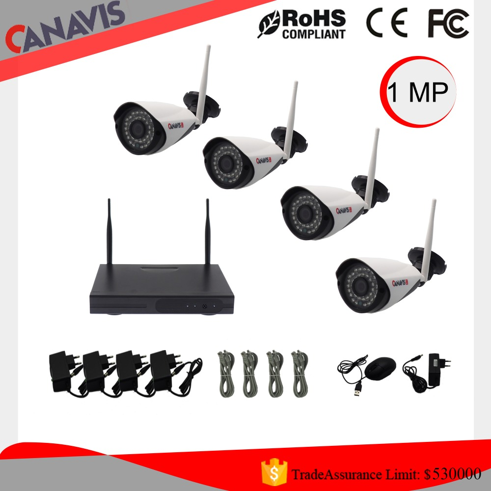 720P Night Vision CCTV Wireless Camera with 4ch nvr Wireless IP Cameras