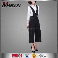 Newest Lady Euramerican Suspender Trousers Cropped Wide Leg Pants Girl V Collar Loose Plus Size Slim Apparel