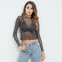 FS0481A 2018 Latest fashion women sexy crop tops transparent t-shirts