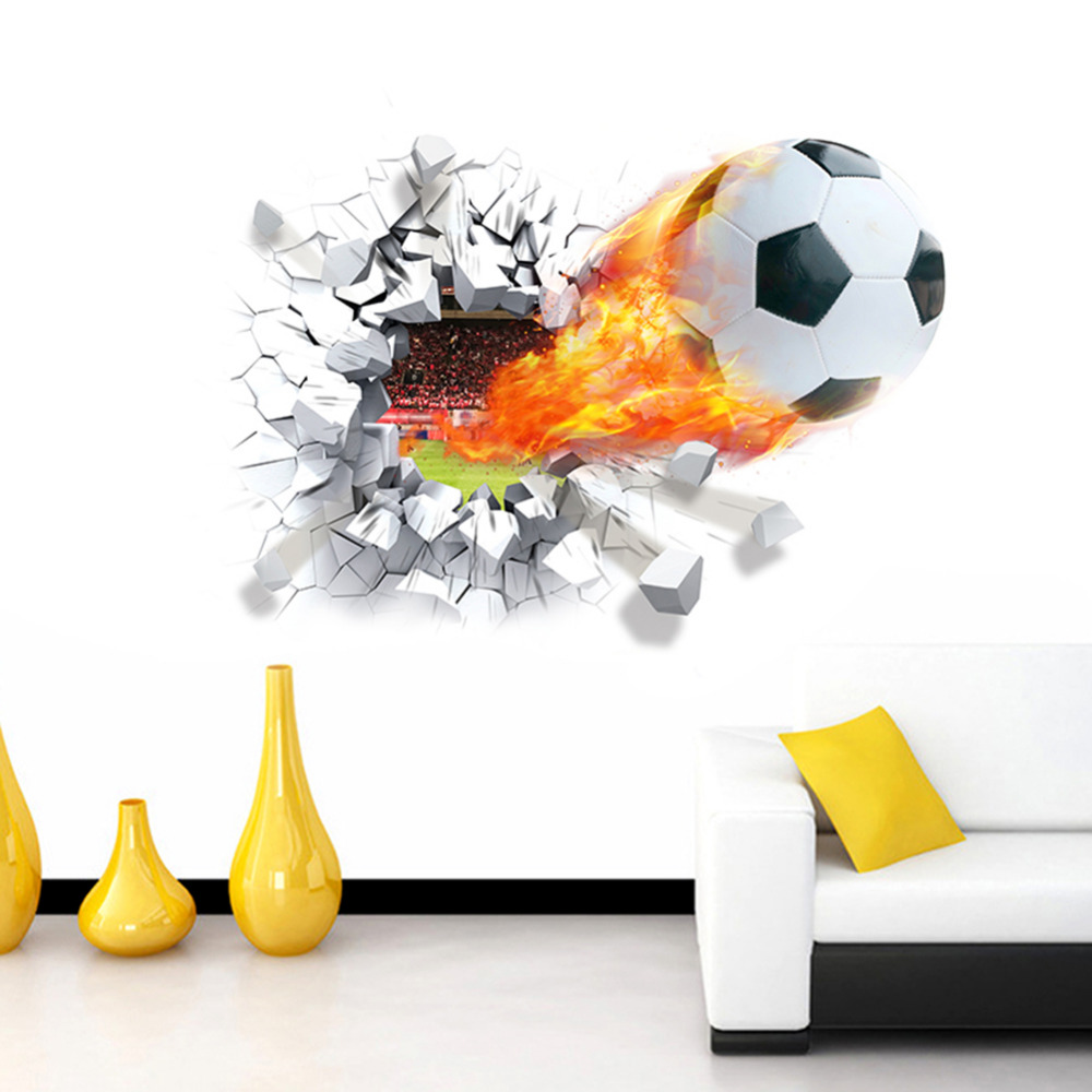 Bedroom Sticker Home Decorations DIY PVC Soccer Decal 3D Football Wall Stickers Background Decor Removable Stickers WQT308
