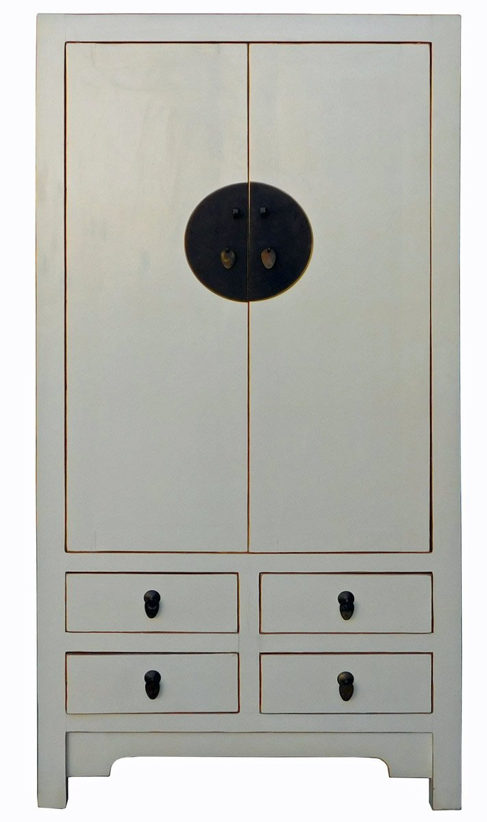 Get Quotations · Chinese Cream Off White Tall Armoire Wardrobe TV Cabinet  Acs2025