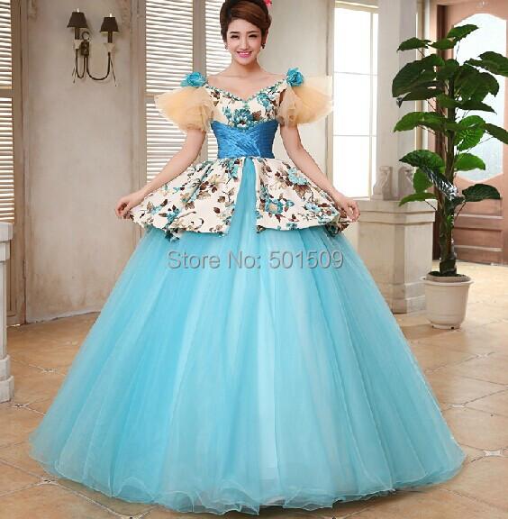Medieval Renaissance Light Blue And White Gown Dress: Womens Light Blue Full Ruffles Sleeve Long Medieval Dress
