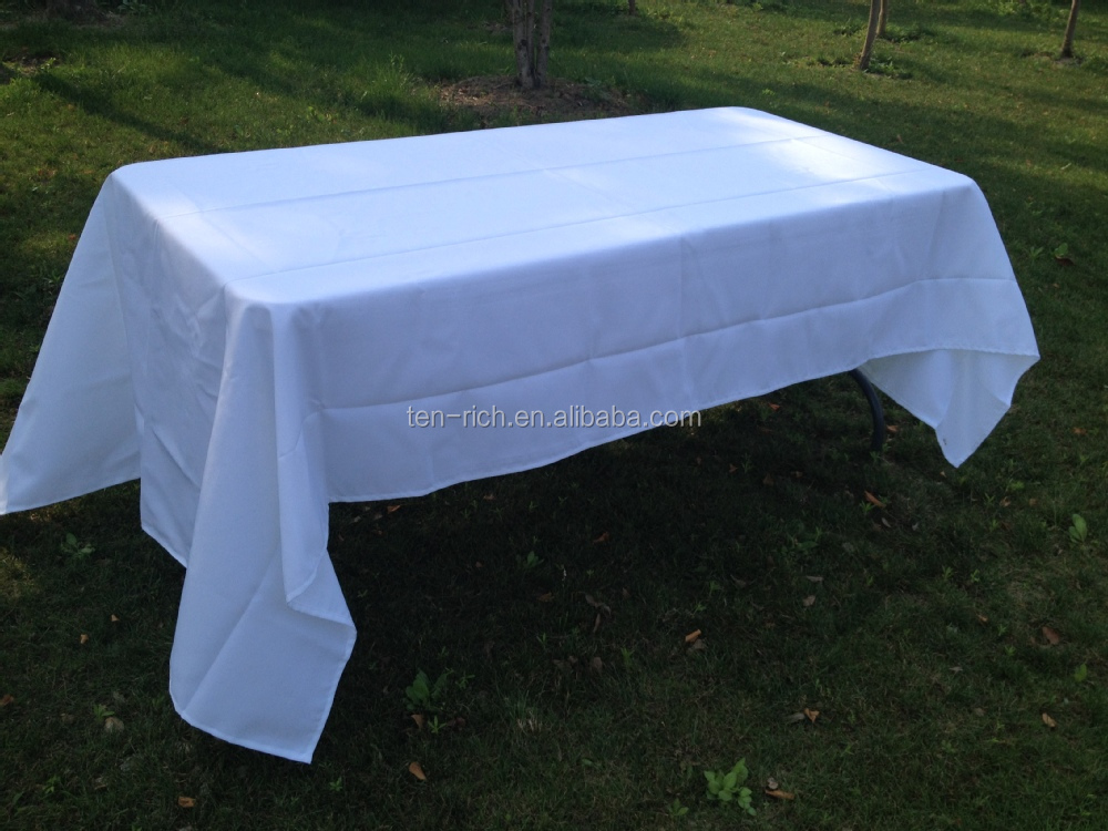 90 X 132 In. Rectangular Economy Polyester Tablecloth White