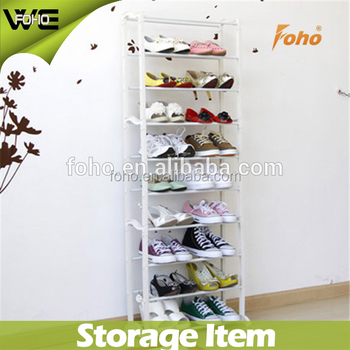 Cheap 10 Tier Plastic Shoe Rack Stand 30 Pairs Storage Organizer