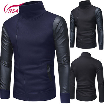 Stand collar leather sleeve stitching Hooded Zipper Men Black Sweatshirt Hoodies For Wholesale