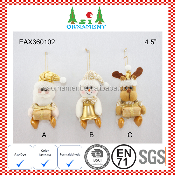 Small hanging golden christmas ornament