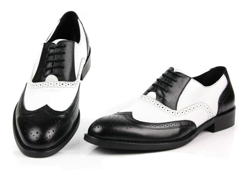 Cheap Mens Black And White Wingtip Shoes
