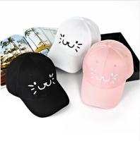2018 Embroidery Cartoon Cat Face hats Baseball Cap For Men And Women Cute Cat Design Snapback Caps Fashion Adjustable hat