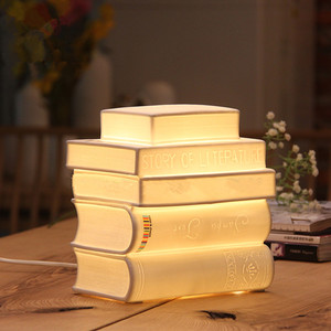 Wholesale Indoor Decoration Cheap Book Shape Ceramic White LED Night Light