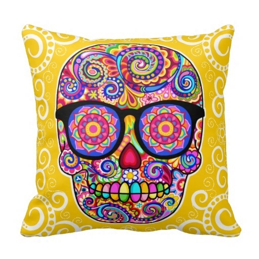 Modern And Simple Pillow Cover Hipster Sugar Skull Pillow Case Day Of The Dead Art (Size: 45x45cm) Free Shipping