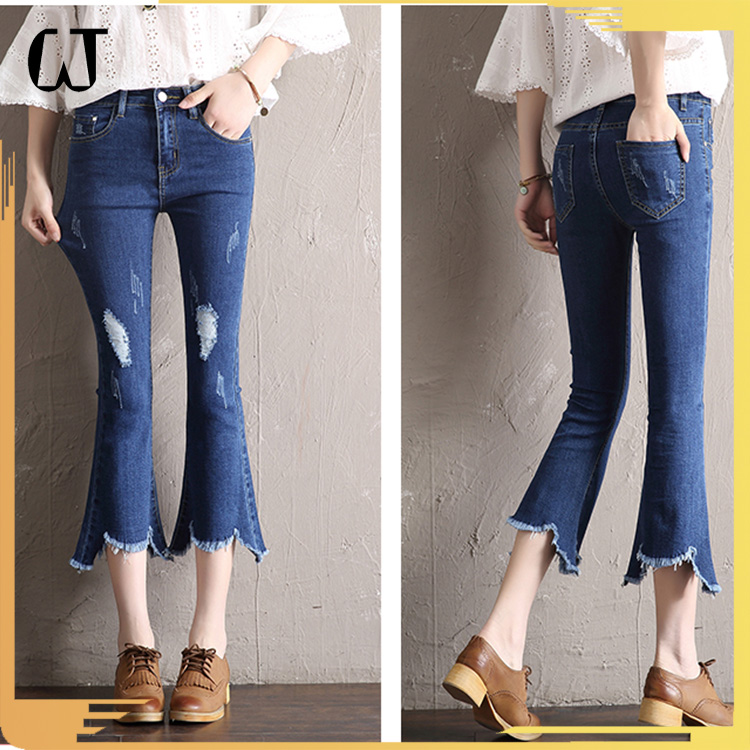 L906#guangzhou clothing ripped flare bootcut skinny denim pants ninth high waist winter damage jeans women stock