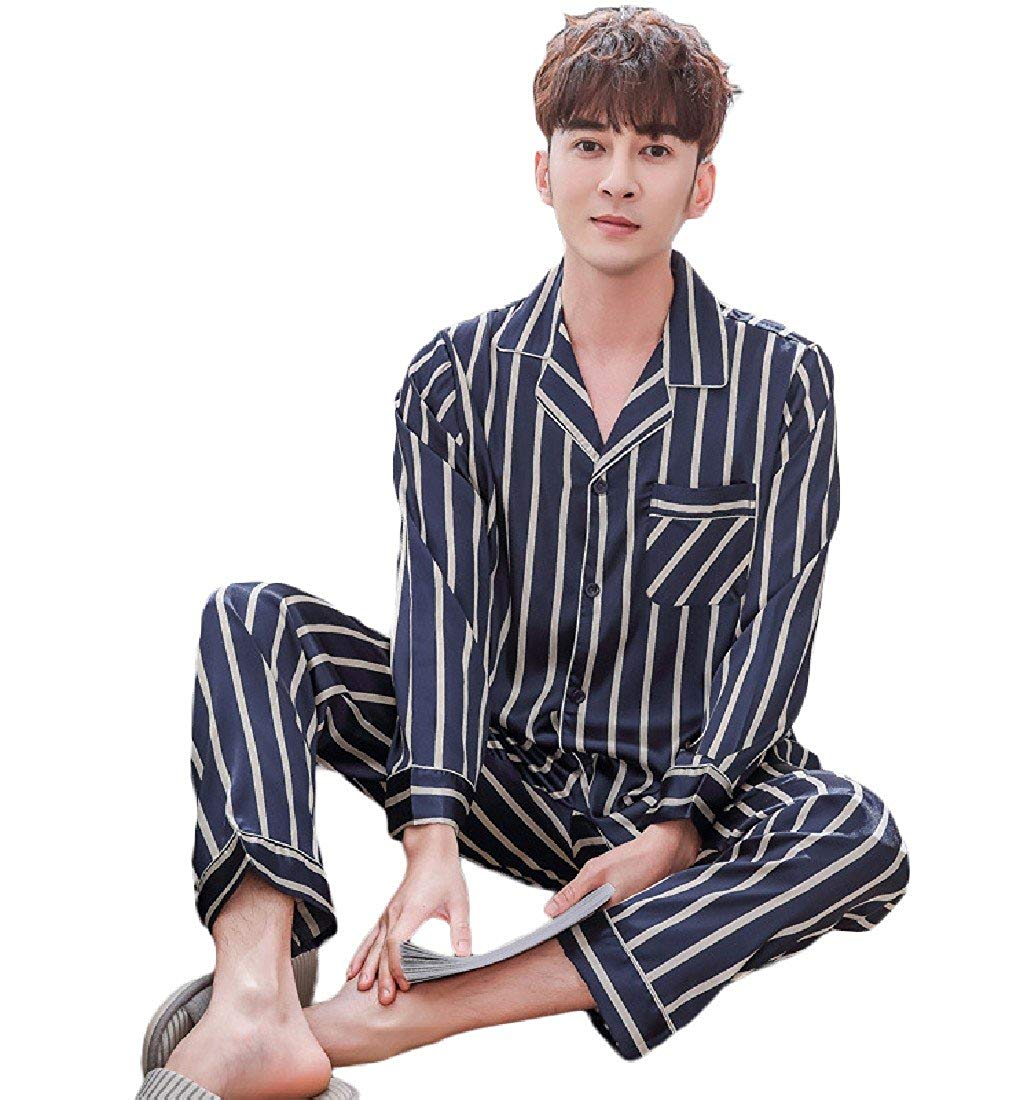 Andopa Mens Long-Sleeve Print Cotton Two Piece Tops with Pants Pjs Set
