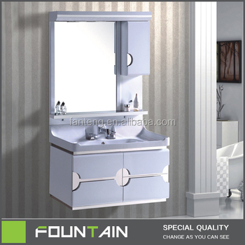 2017 New Model White Bath Vanity Pvc Bathroom Single Sink Vanity