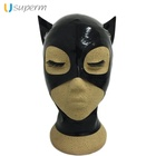 Latex Mask Fetish with Eyelashes and Open mouth Black Ears Cat Latex Hood Fetish