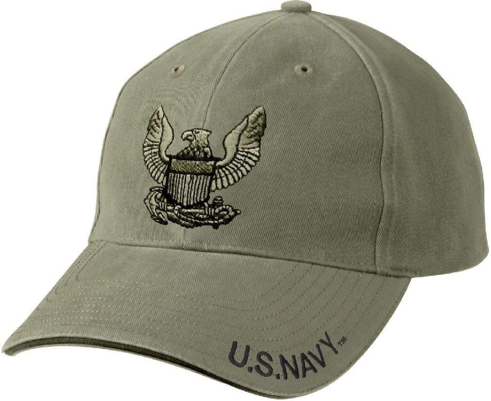 Olive Drab Vintage US Navy Eagle Crest Low Profile Adjustable Baseball Cap
