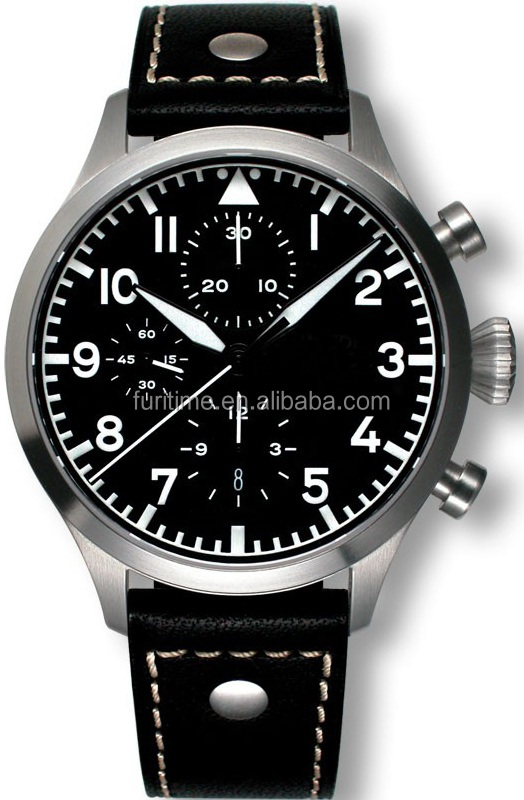 Mens ETA 7750 military pilot army style aviator watches with luminous hand